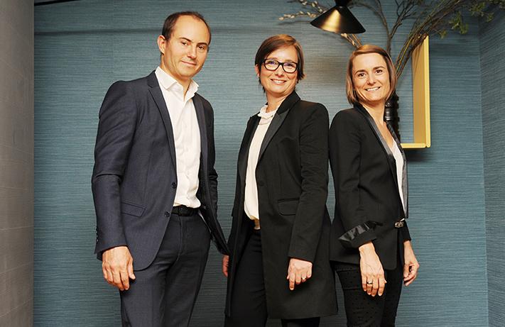 Romain Binet, Marion Laroche et Emilie Arabyan (de gauche à droite), les trois co-dirigeants du groupe Biografy DR